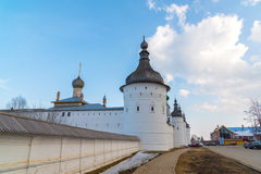 Rostov Veliky, Russia-March 30.2016.  Guard Towers of  Kremlin Royalty Free Stock Photography