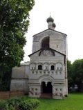 Rostovsky Borisoglebsky monastery. Bell tower. Russia. Rostov. June, 17, 2017. View of Rostovsky Borisoglebsky monastery. Bell tower in summer garden Royalty Free Stock Photo
