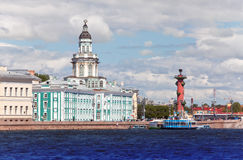 Rostral column and cabinet of curiosities.Russia. Petersburg. Russia. Petersburg. Spit of Vasilevsky Island. Rostral column and cabinet of curiosities Royalty Free Stock Photo