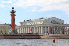 Rostral column, and the historic stock exchange in may day in St Stock Image