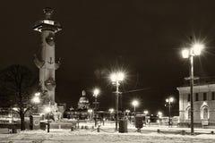 Rostral column landmark Saint Petersburg night Royalty Free Stock Photo