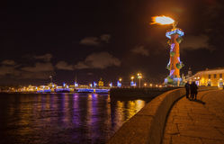 Rostral column a lighted torch Royalty Free Stock Images