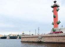 Rostral Column at the Neva embankment Stock Photo