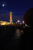 Rostral column at night. Saint-Petersburg, Russia Royalty Free Stock Photos