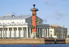 Rostral column and Old Stock Exchange. Rostral column and building of the Stock Market. Saint-Petersburg. Russia Stock Images
