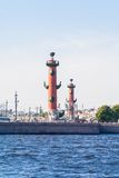 Rostral column and Saint-Petersburg exchange Royalty Free Stock Photos