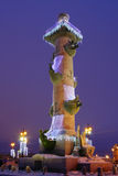 Rostral column, Saint-Petersburg, Russia. Celebratory illumination of Rostral column, Saint-Petersburg Royalty Free Stock Photography