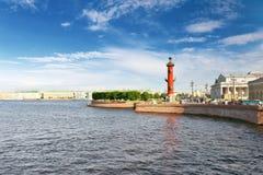 Rostral Column  in St Petersburg. Rostral Column  in Saint Petersburg in Russia. Evening Stock Photos