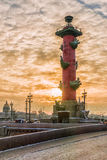 Rostral column at sunset in winter in St. Petersburg, Russia Royalty Free Stock Image