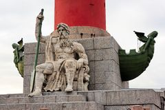 Rostral Column on Vasilevsky Island, St. Petersburg, Russia Stock Images
