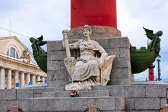 Rostral Column on Vasilyevskiy Island, St. Petersburg, Russia Royalty Free Stock Photos