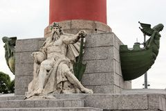 Rostral Column on Vasilyevskiy Island, St. Petersburg, Russia Royalty Free Stock Images
