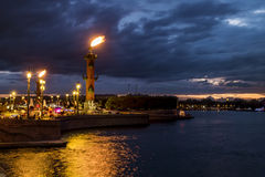 Rostral columns lit by illumination of the white nights at dawn. St. Petersburg, Russia Royalty Free Stock Photos