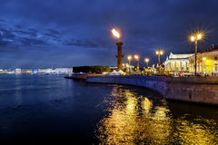 Rostral columns lit by illumination of the white nights at dawn Stock Photos