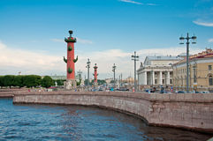 Rostral columns in Saint Petersburg Stock Images