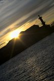Rostral columns silhouette in sunset light, Saint-Petersburg, Russia Stock Photo