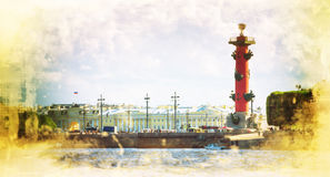 Rostral Columns on the Spit of Vasilievsky Island outside The Old Saint Petersburg Stock Exchange, St Petersburg Stock Photo