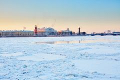 Rostral Columns and Spit of Vasilyevsky Island Stock Photo