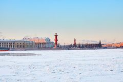 Rostral Columns and Spit of Vasilyevsky Island Royalty Free Stock Photography