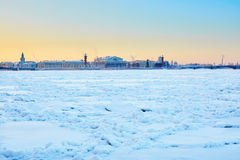Rostral Columns and Spit of Vasilyevsky Island in St. Petersburg Stock Image