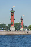Rostral columns, St. Petersburg, Russia Stock Photos