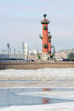 Rostral columns. Vasilevski island winter panorama. Royalty Free Stock Photography
