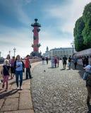 Rostral kolom in Heilige Petersburg, Rusland Stock Afbeeldingen