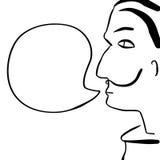 Rostro humano de la historieta con el ejemplo de la burbuja del texto El hombre con el bigote y el pelo negro con discurso burbuj stock de ilustración