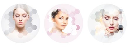Rostro humano en un collage Mujer joven y sana en la colecci?n del concepto de la elevaci?n de la cirug?a pl?stica, de la medicin fotos de archivo libres de regalías