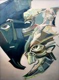 Rostros humanos abstractos Pintura original, aceite en lona Foto de archivo