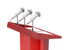 Rostrum. With microphones and empty documents Royalty Free Stock Image