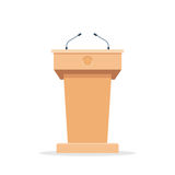 Rostrum with microphones. Wooden podium tribune stand rostrum with microphones. Flat icon. Vector illustration isolated on white background Stock Photo