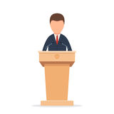 Rostrum with speaker. Wooden podium tribune rostrum stand with a man. Speaker standing behind the podium, speaking into the microphones. Flat icon. Vector Stock Photography