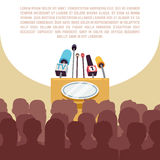 Rostrum, tribune with microphones in spotlight on stage vector illustration Stock Photo