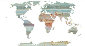 Rosttextur på världskarta Royaltyfri Bild