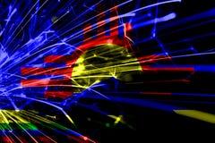 Roswell, флаг абстрактных фейерверков Неш-Мексико сверкная Концепция Нового Года, рождества и национального праздника положения а иллюстрация вектора