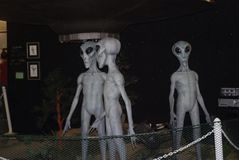 Roswell aliens. Alien models in museum Royalty Free Stock Photo