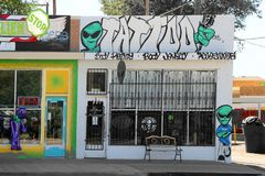 Main Street in Roswell with Alien Gift Shops Stock Photography