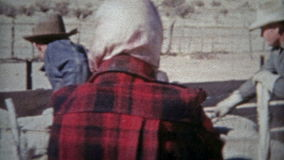 ROSWELL, NEW MEXICO 1953: Sheep ranchers American western cowboys dry climate. stock video footage
