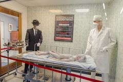 Alien Autopsy Room In Roswell. Roswell, New Mexico, USA - April 28, 2019: The famous Alien Autopsy Room at the Roswell International UFO Museum and Research royalty free stock photos