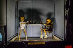 A miniature models of UFO in Roswell, New Mexico. Roswell, NM, USA - April 21, 2018: The famous international collections of UFO model inside the museum stock image