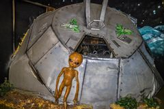 A miniature models of UFO in Roswell, New Mexico. Roswell, NM, USA - April 21, 2018: The famous international collections of UFO model inside the museum royalty free stock images
