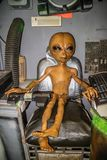 A miniature models of UFO in Roswell, New Mexico. Roswell, NM, USA - April 21, 2018: The famous international collections of UFO model inside the museum royalty free stock photos