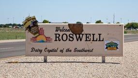 Roswell - välkommet tecken Arkivfoto