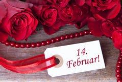 Rosy Background com 14. Februar Fotos de Stock
