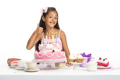 Rosy celebration. Little beautiful Asian girl celebrate her birthday stock images
