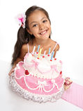 Rosy celebration. Little Asian beautiful  girl celebrate her birthday Royalty Free Stock Images