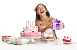 Rosy celebration. Little Asian beautiful girl celebrate her birthday Royalty Free Stock Photo