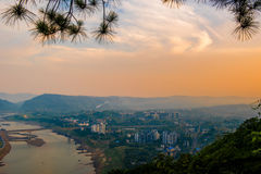 Rosy clouds of dawn. This is a morning which is full of rosy clouds in an ancient city.It's a so beautiful dawn. That is Beibei District of Chongqing Royalty Free Stock Image