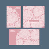 Rosy color decorative greeting cards set. Royalty Free Stock Photo